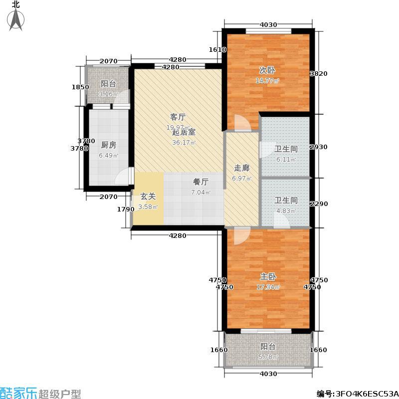金域阅山106.31㎡5号楼C户型 两室两厅两卫户型2室2厅2卫