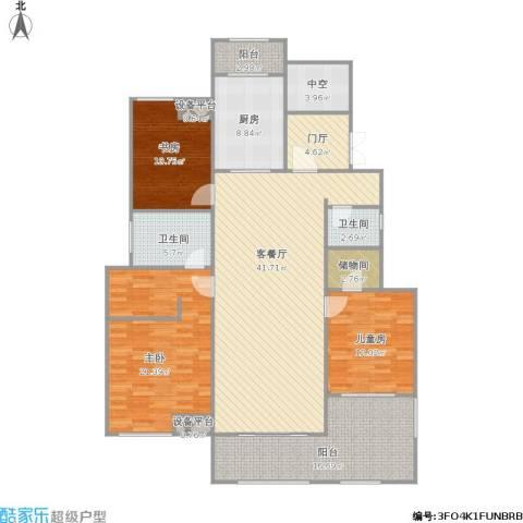 金科廊桥水岸3室1厅2卫1厨183.00㎡户型图