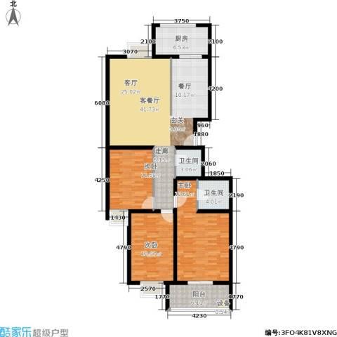 金玉人家3室1厅2卫1厨121.00㎡户型图
