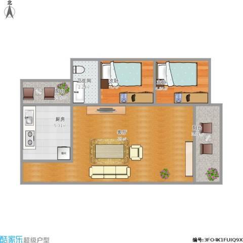 雅居乐・铂爵山2室1厅1卫1厨60.00㎡户型图
