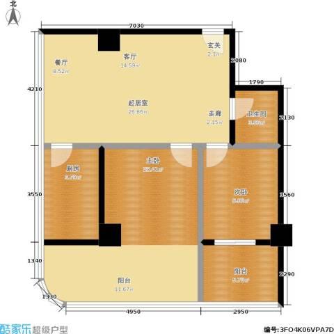华旗国际广场2室0厅1卫1厨105.00㎡户型图
