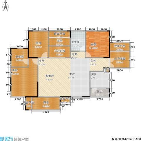 长房南屏锦源3室1厅2卫1厨131.00㎡户型图