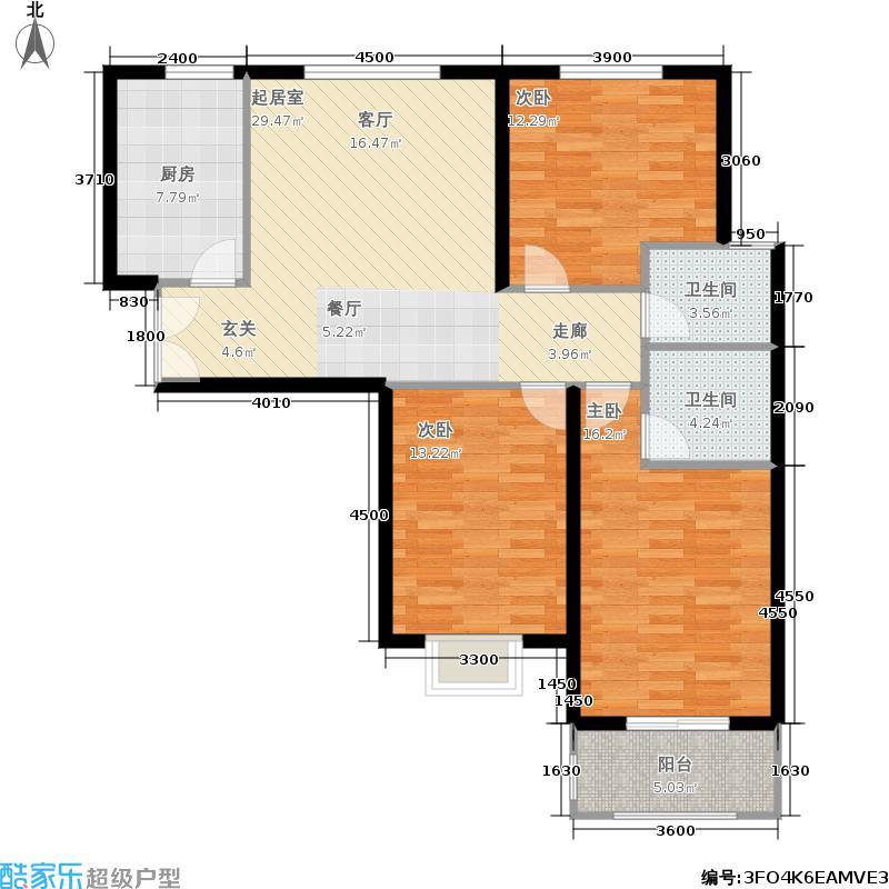 晋阳・峰�123.30㎡晋阳・峰�户型图A8户型三室两厅两卫(3/3张)户型3室2厅2卫