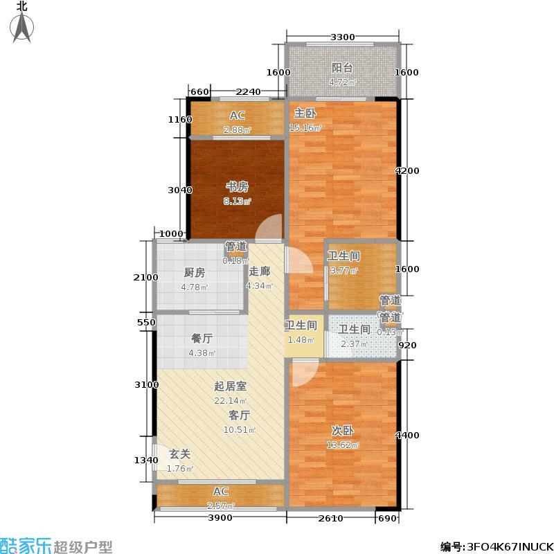 正恒国际广场83.00㎡正恒国际广场户型图2+1房(9/10张)户型3室2厅2卫