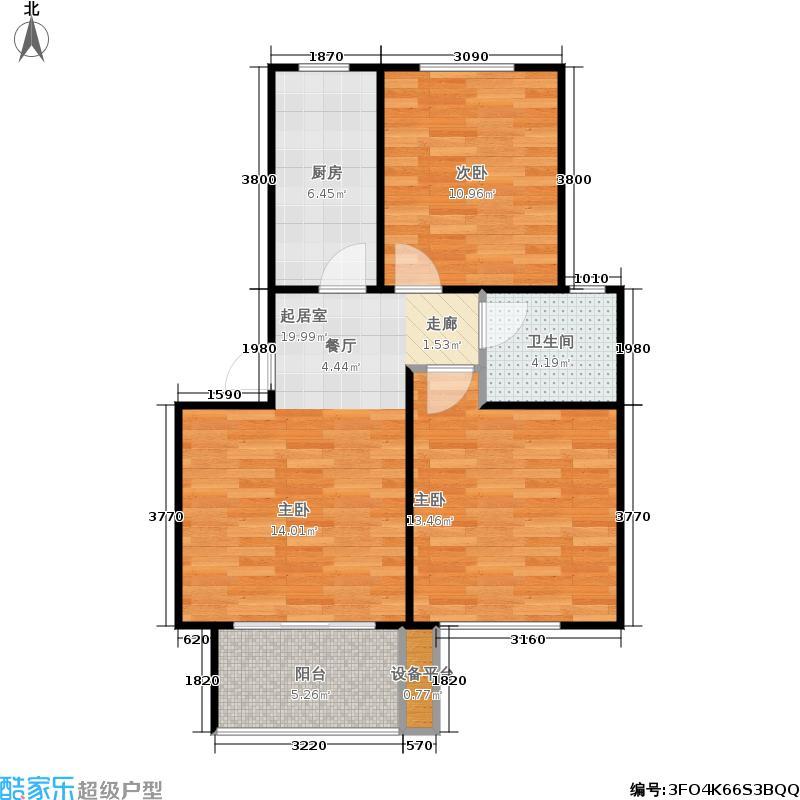 重汽翡翠清河78.00㎡H2-6 两室一厅一卫户型2室1厅1卫