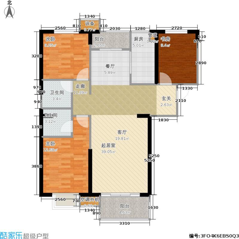 太原海唐广场128.00㎡5A户型 三室两厅两卫户型3室2厅2卫