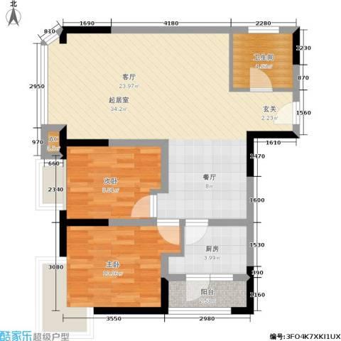 金都会都峰2室0厅1卫1厨73.00㎡户型图
