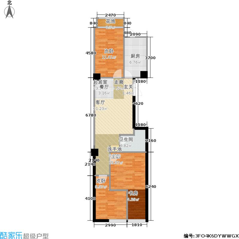 海唐星81.00㎡海唐星户型图A-03(3/4张)户型3室2厅1卫