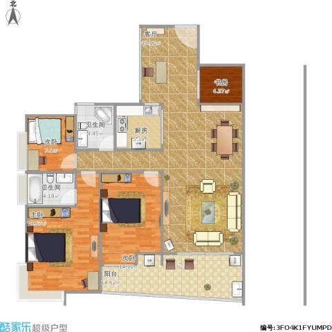 银地绿洲4室1厅2卫1厨164.00㎡户型图