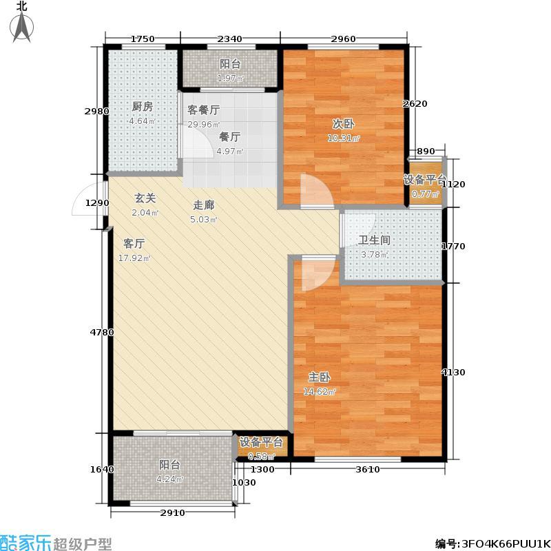 重汽翡翠清河93.00㎡H1-1 两室两厅一卫户型2室2厅1卫