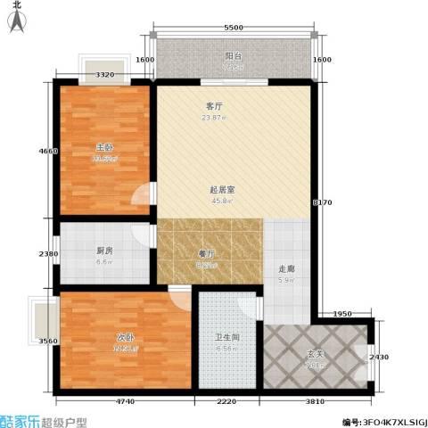 秦地雅仕2室0厅1卫1厨107.00㎡户型图