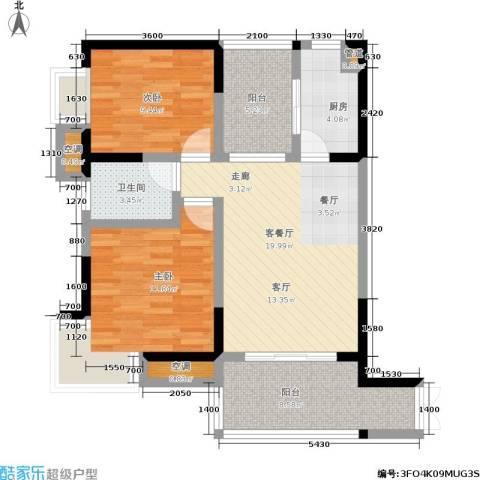 丽水菁苑栖景湾2室1厅1卫1厨65.00㎡户型图