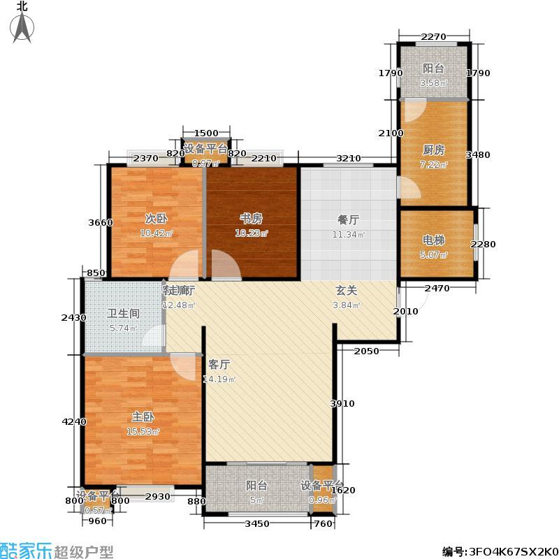 佳兴天城115.28㎡C户型三室两厅一卫115.28平米户型3室2厅1卫