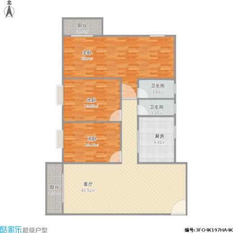 人才楼3室1厅2卫1厨163.00㎡户型图