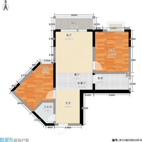 百康年世纪门2室1厅1卫1厨56.40㎡户型图