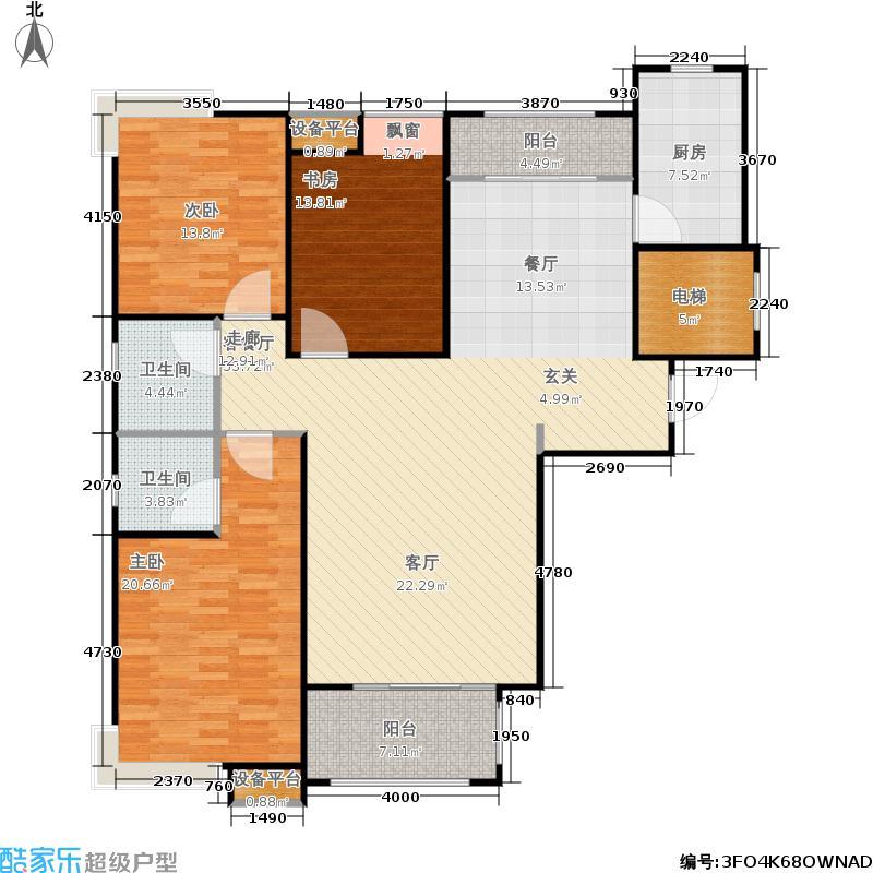 佳兴天城A户型三室两厅2卫145.87平米户型3室2厅2卫