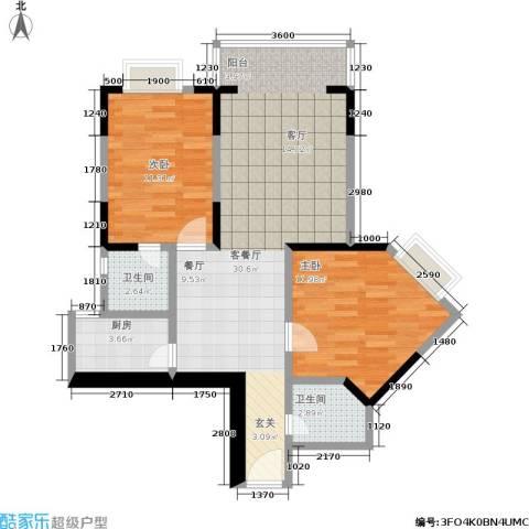 百康年世纪门2室1厅2卫1厨63.09㎡户型图