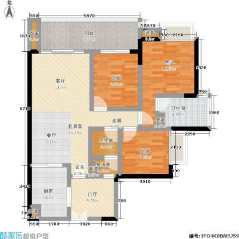 富力现代广场3室0厅2卫1厨99.00㎡户型图