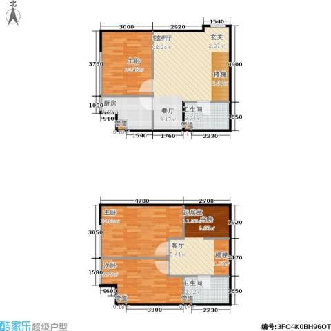 诚基中心3室1厅2卫1厨77.38㎡户型图