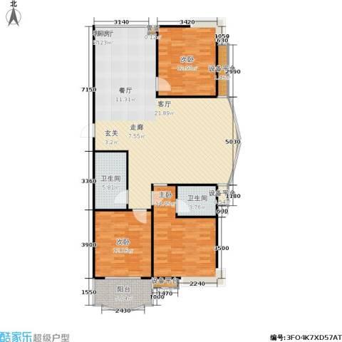 正大城市花园3室1厅2卫0厨144.00㎡户型图