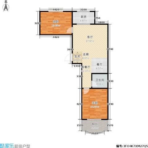 正大城市花园2室1厅1卫1厨100.00㎡户型图