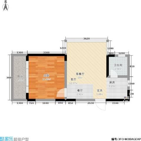 百康年世纪门1室1厅1卫0厨38.12㎡户型图