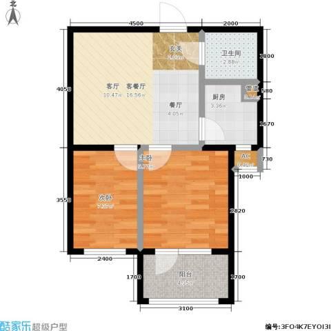 七星九龙湾2室1厅1卫1厨68.00㎡户型图