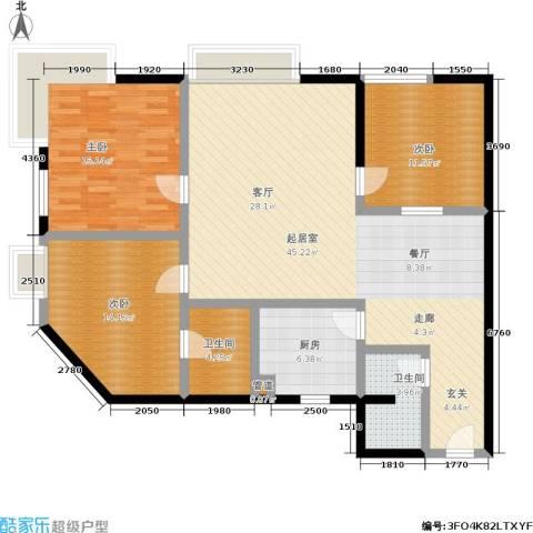 新洲阳光3室0厅2卫1厨119.00㎡户型图
