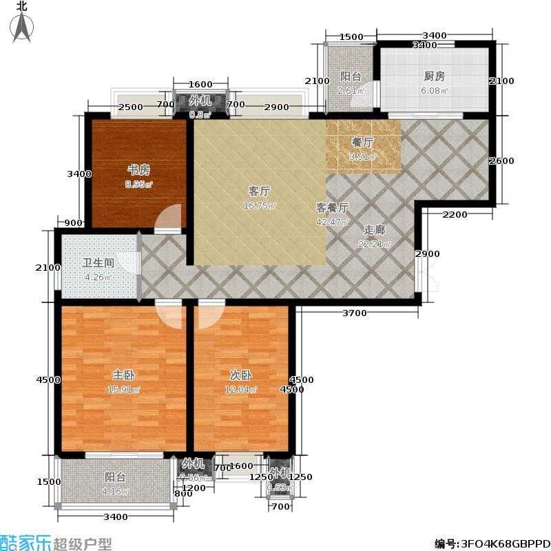 山水泉城126.00㎡二期 三室两厅一卫户型3室2厅1卫