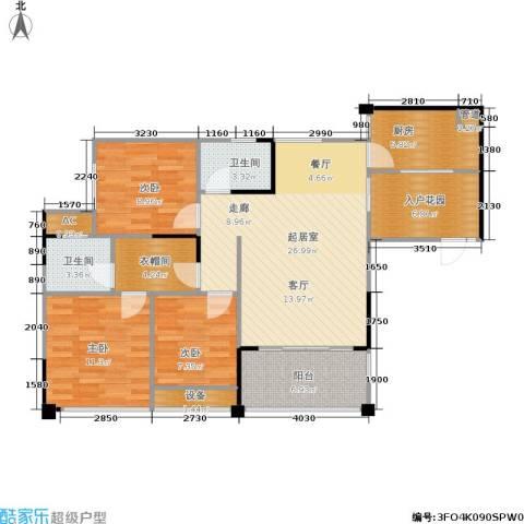 南方新城苹果派3室0厅2卫1厨95.90㎡户型图