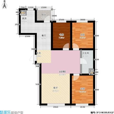 亚泰生活赏3室0厅1卫0厨111.00㎡户型图