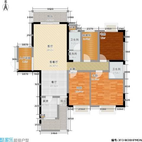 湘翰御舍3室1厅2卫1厨133.00㎡户型图