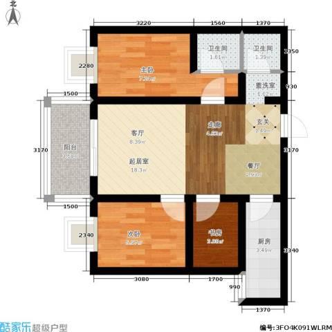 嘉泰隆花园3室0厅2卫1厨55.00㎡户型图