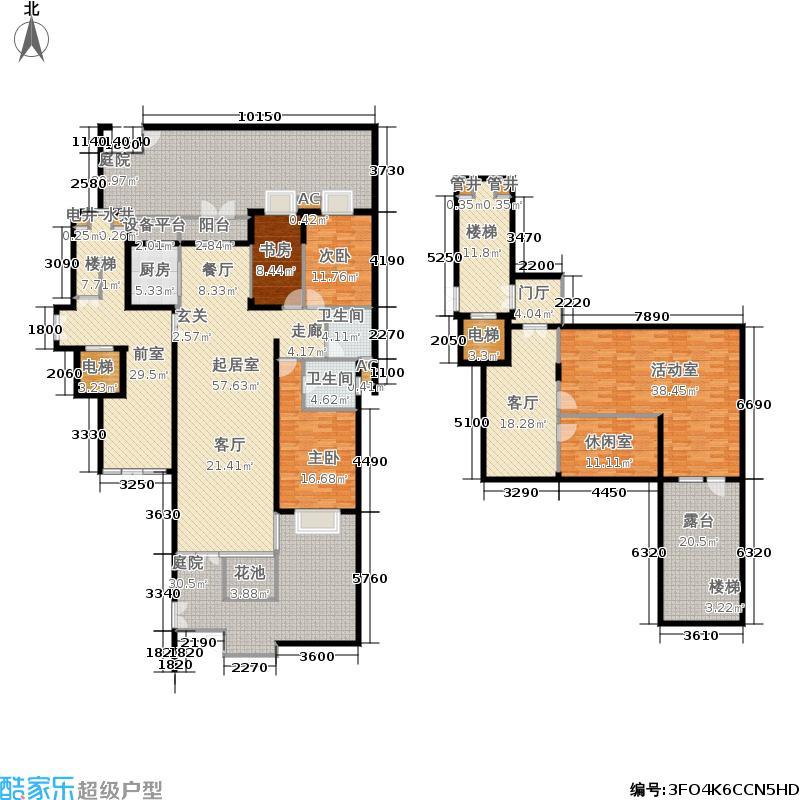 环球东方港城170.00㎡H1b户型附前庭后院、地下室及下沉式庭院户型3室2厅2卫