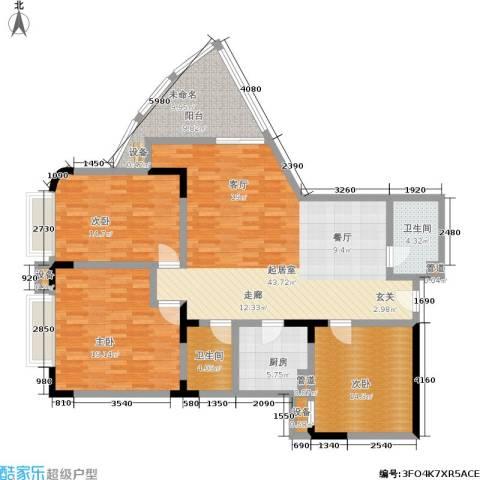 渝南佳苑3室0厅2卫1厨133.43㎡户型图