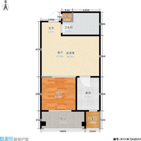普利林景山庄1室0厅1卫1厨61.00㎡户型图