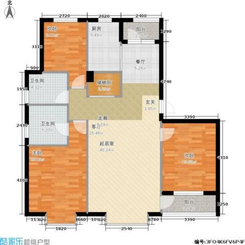 嘉恒国际3室0厅2卫1厨140.00㎡户型图