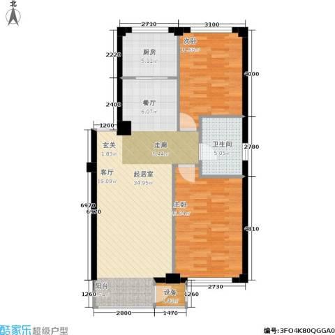 华兴尚园2室0厅1卫1厨93.00㎡户型图