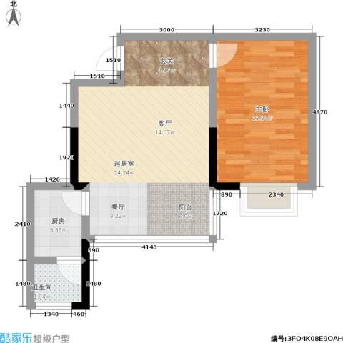 湘翰御舍1室0厅1卫1厨62.00㎡户型图
