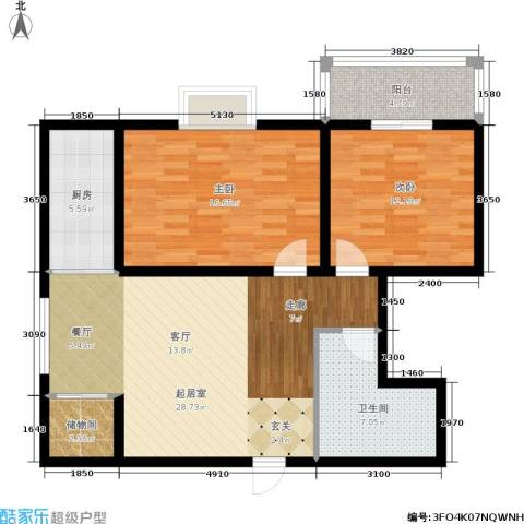 嘉泰隆花园2室0厅1卫1厨88.00㎡户型图