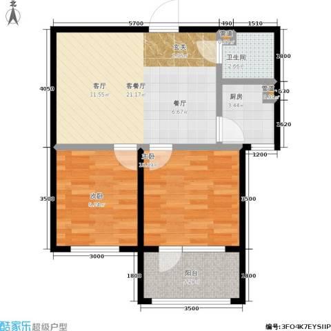 七星九龙湾2室1厅1卫1厨80.00㎡户型图