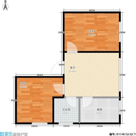 普利林景山庄2室1厅1卫1厨60.00㎡户型图