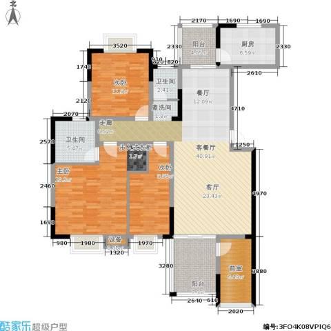 湘翰御舍3室1厅2卫1厨132.00㎡户型图