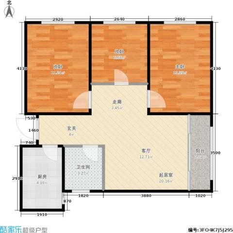 普利林景山庄3室0厅1卫1厨82.00㎡户型图