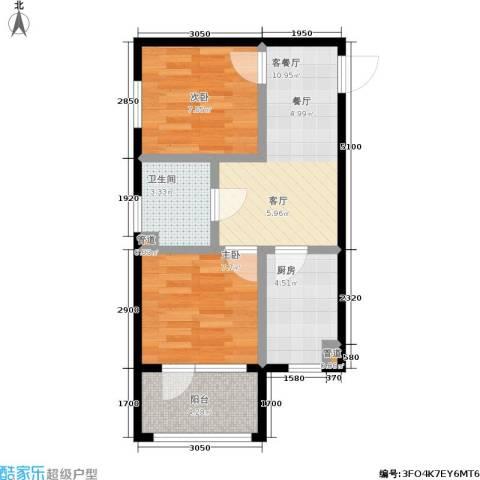 七星九龙湾2室1厅1卫1厨59.00㎡户型图