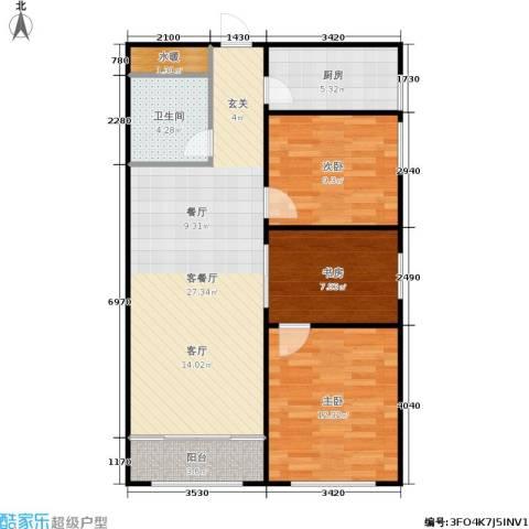 普利林景山庄3室1厅1卫1厨97.00㎡户型图