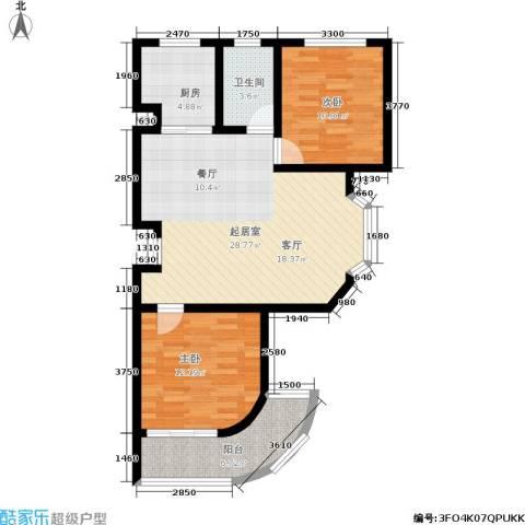 汇东香墅里2室0厅1卫1厨96.00㎡户型图