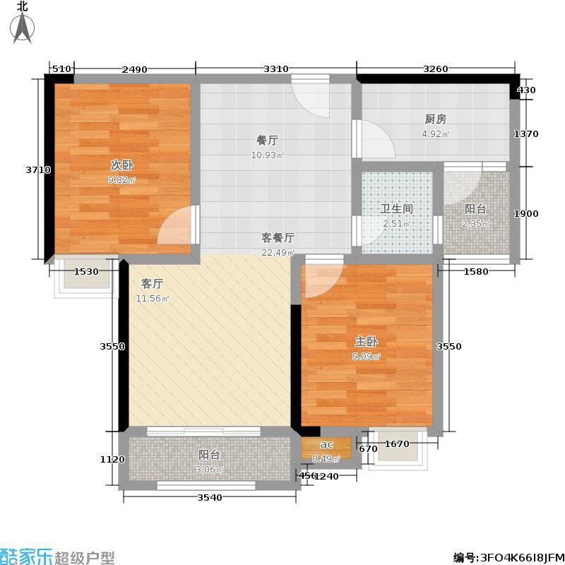旭阳台北城80.00㎡三房两厅两卫 套内面积约59.48平米户型2室2厅1卫
