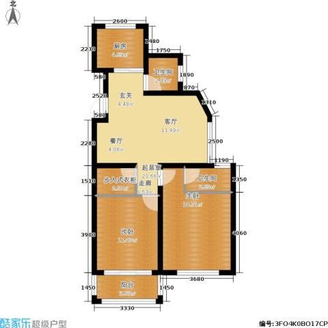 汇东香墅里2室0厅2卫1厨93.00㎡户型图