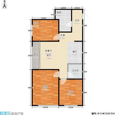 普利林景山庄3室1厅1卫1厨111.00㎡户型图